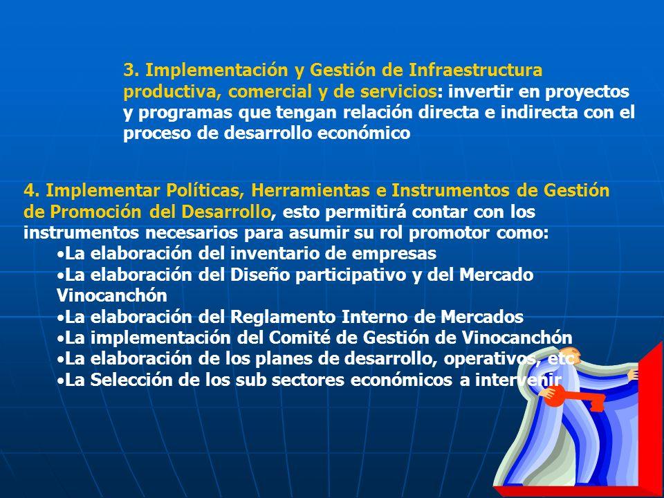 3. Implementación y Gestión de Infraestructura productiva, comercial y de servicios: invertir en proyectos y programas que tengan relación directa e indirecta con el proceso de desarrollo económico