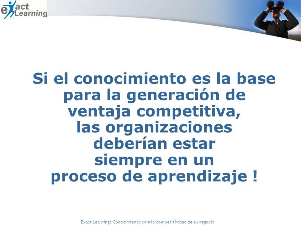 Si el conocimiento es la base para la generación de ventaja competitiva, las organizaciones deberían estar siempre en un proceso de aprendizaje !