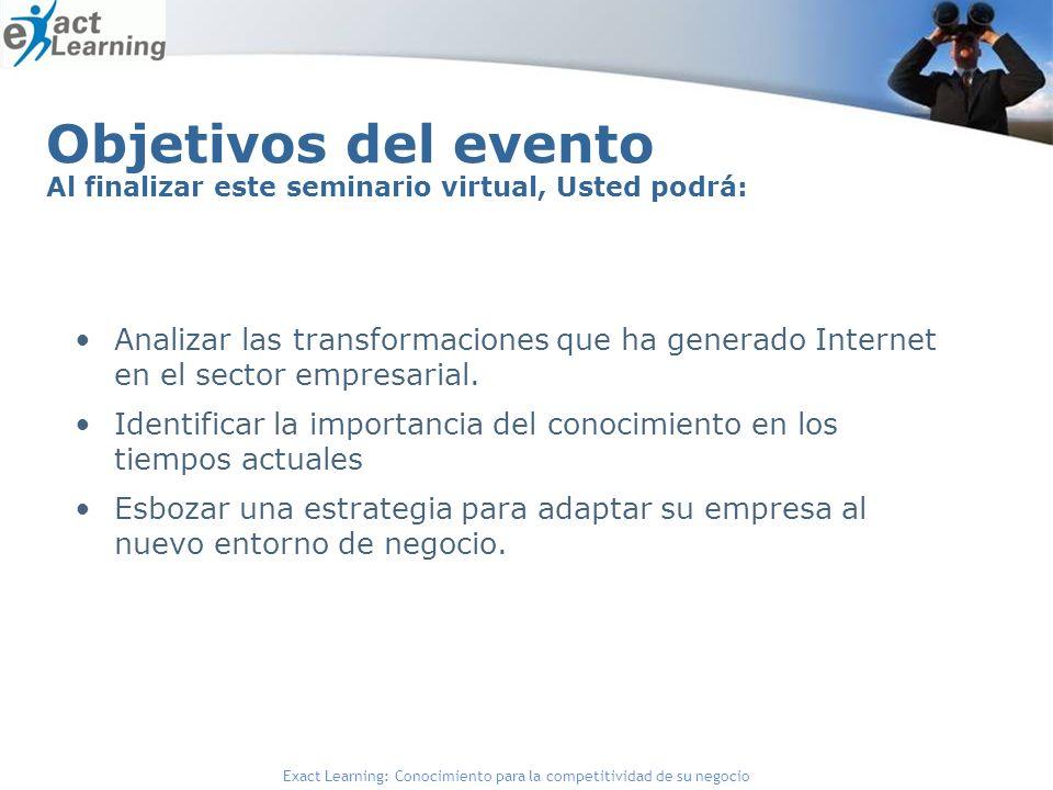 Objetivos del evento Al finalizar este seminario virtual, Usted podrá: