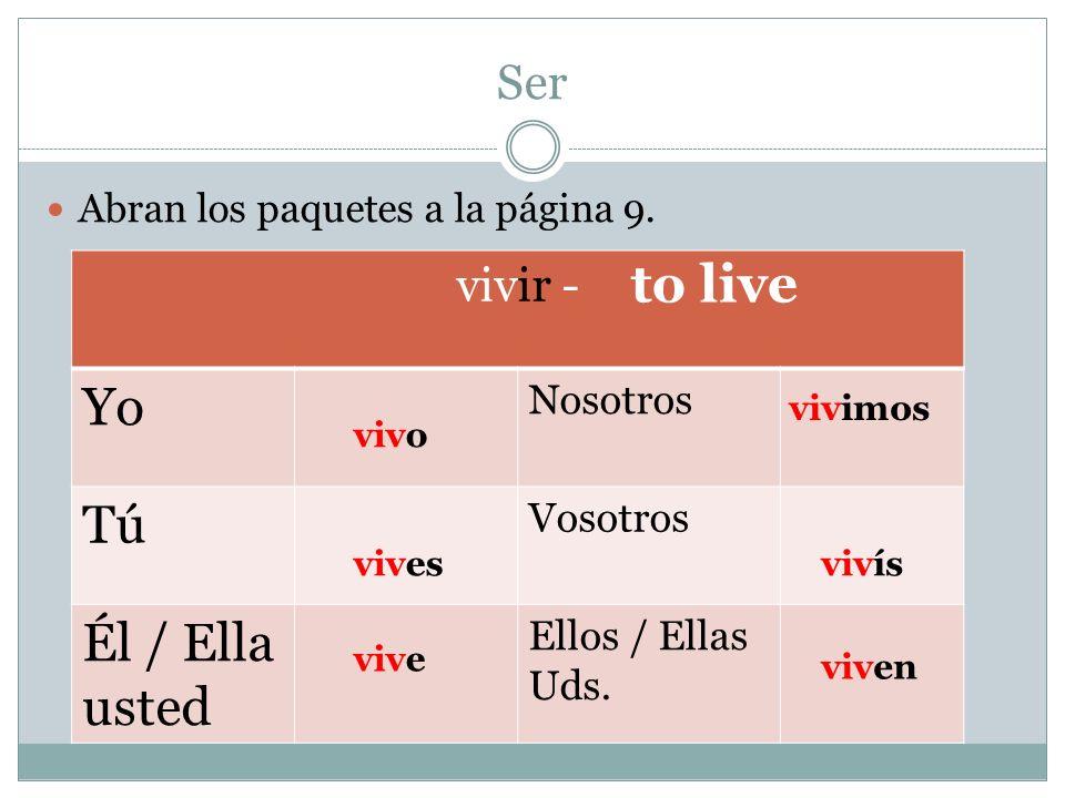 Yo Tú to live Él / Ella usted Ser vivir - Nosotros Vosotros