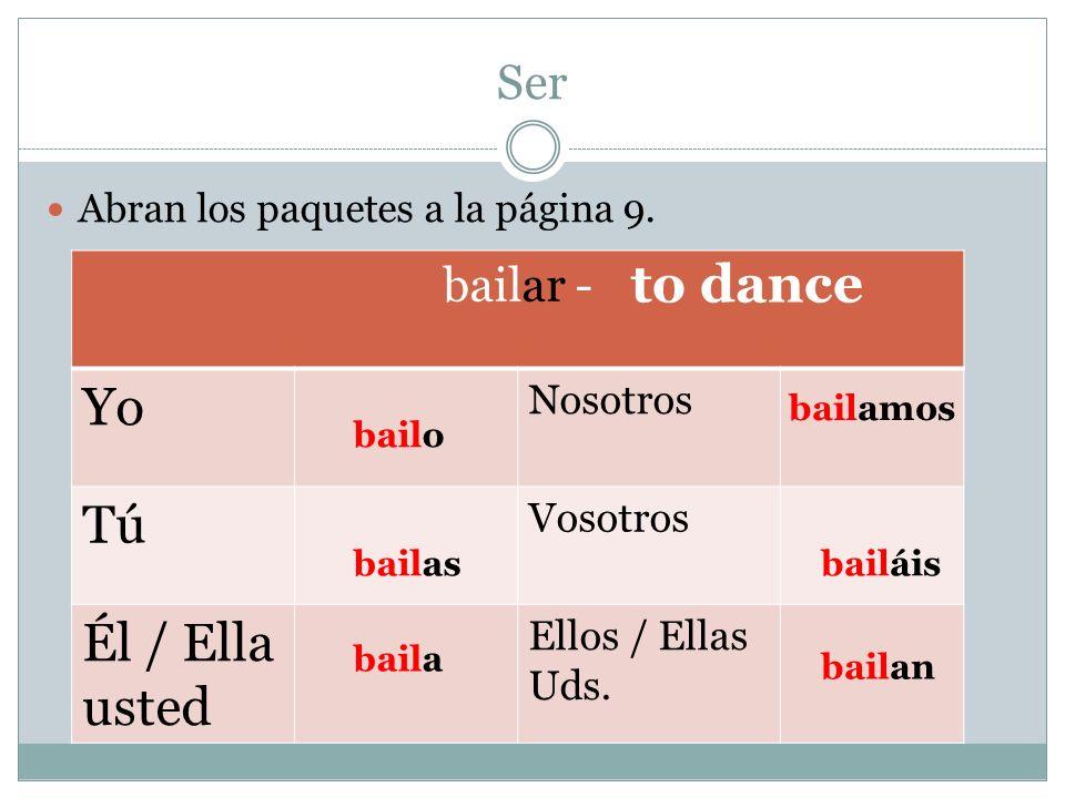 Yo Tú to dance Él / Ella usted Ser bailar - Nosotros Vosotros
