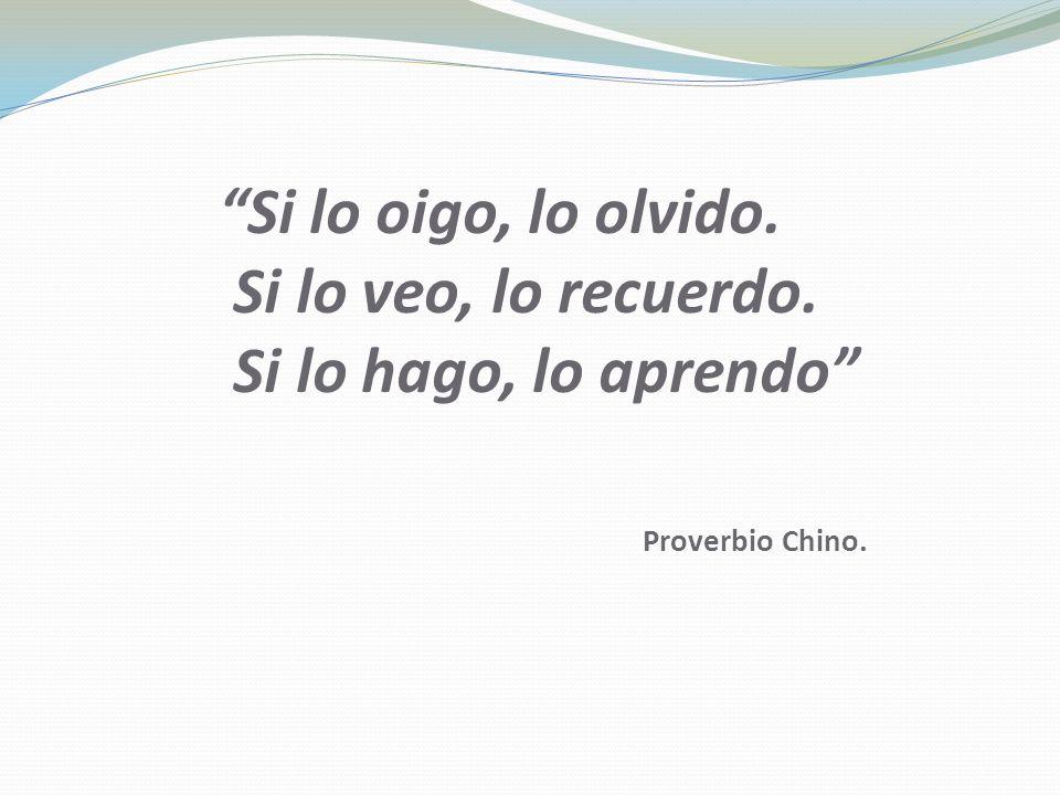Si lo oigo, lo olvido. Si lo veo, lo recuerdo. Si lo hago, lo aprendo Proverbio Chino.