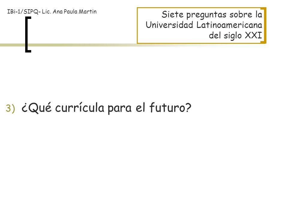 ¿Qué currícula para el futuro
