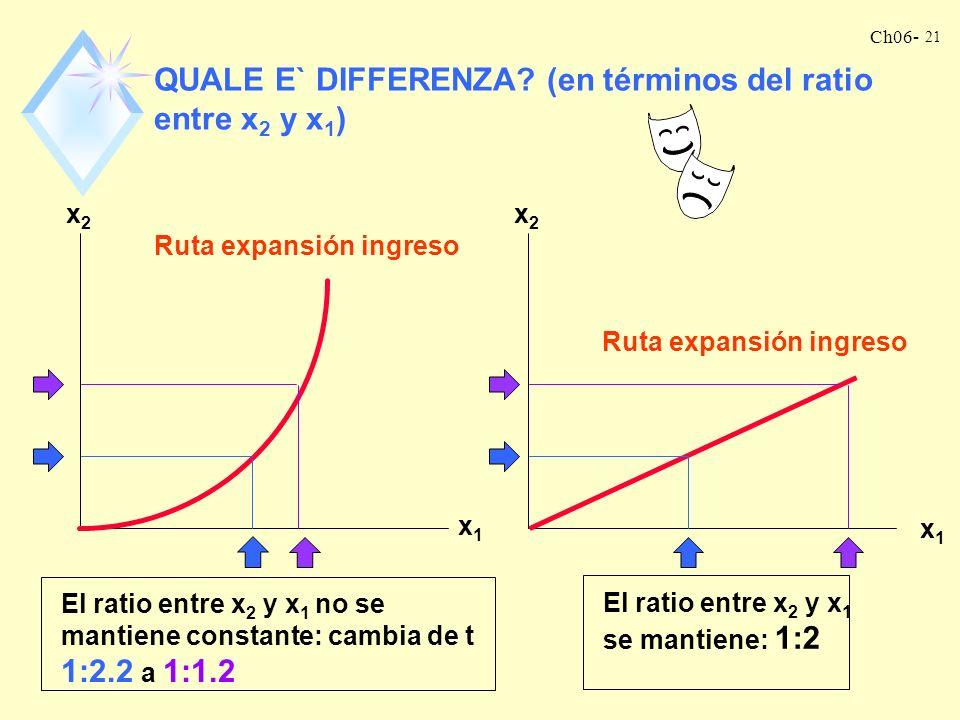 QUALE E` DIFFERENZA (en términos del ratio entre x2 y x1)