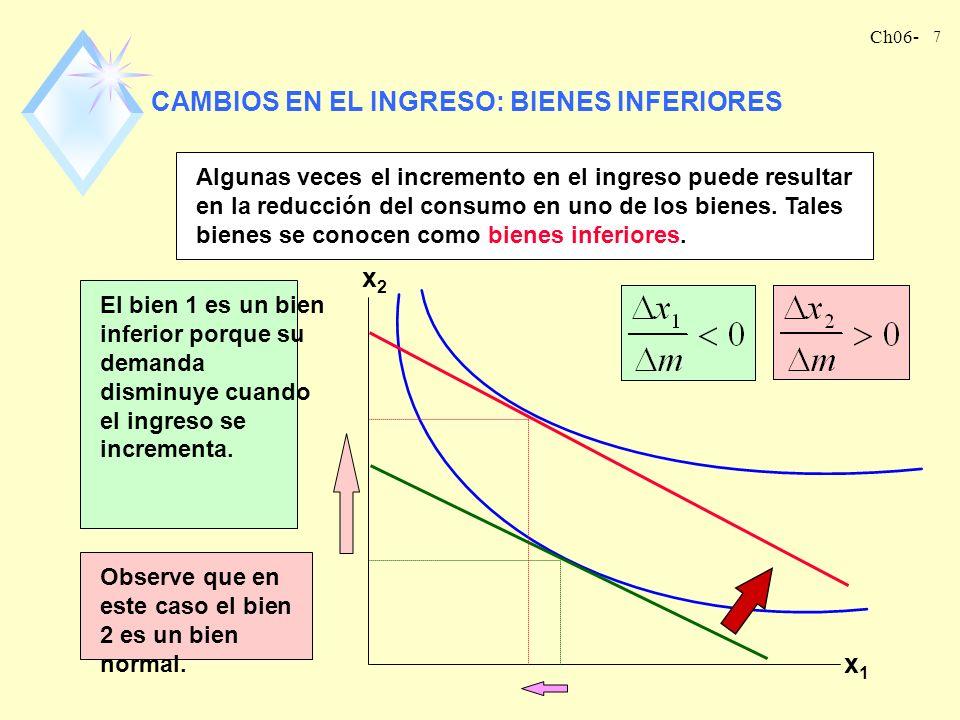 CAMBIOS EN EL INGRESO: BIENES INFERIORES