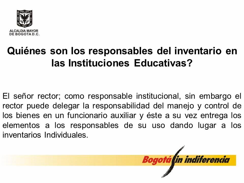 Quiénes son los responsables del inventario en las Instituciones Educativas