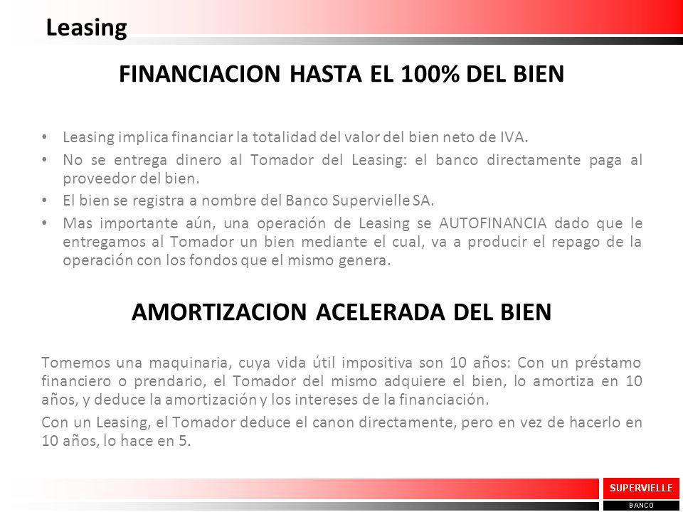 FINANCIACION HASTA EL 100% DEL BIEN AMORTIZACION ACELERADA DEL BIEN