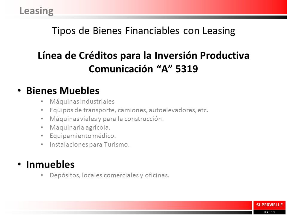 Tipos de Bienes Financiables con Leasing