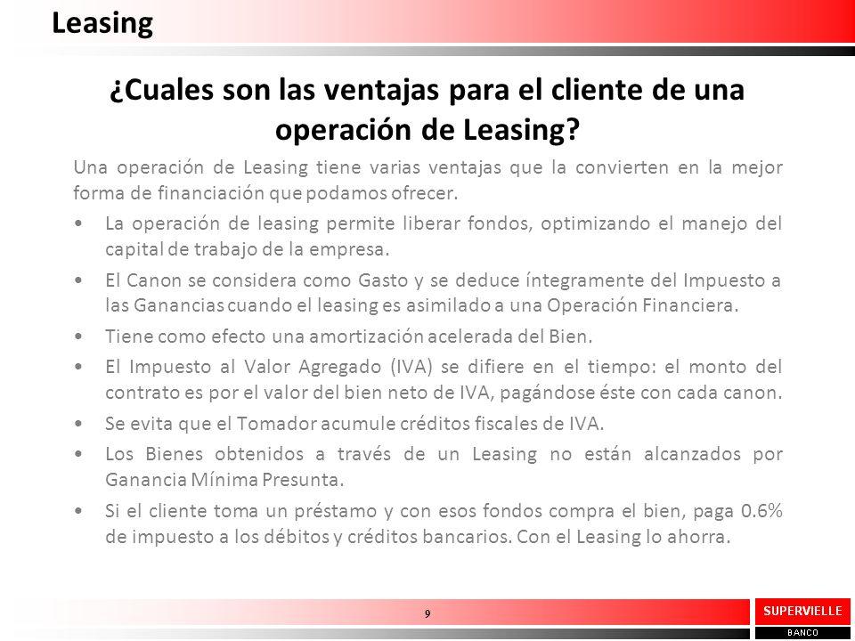 ¿Cuales son las ventajas para el cliente de una operación de Leasing