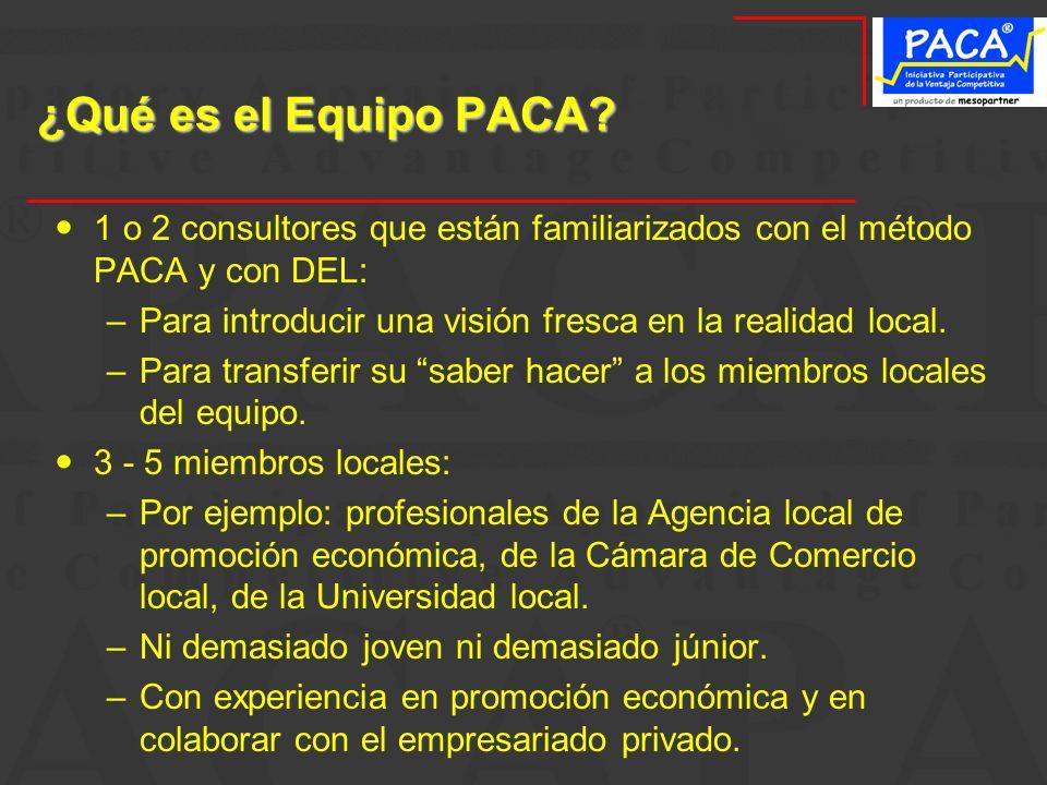 ¿Qué es el Equipo PACA 1 o 2 consultores que están familiarizados con el método PACA y con DEL: