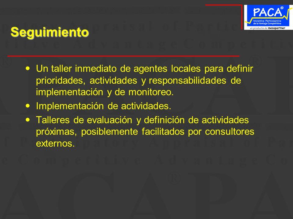 SeguimientoUn taller inmediato de agentes locales para definir prioridades, actividades y responsabilidades de implementación y de monitoreo.