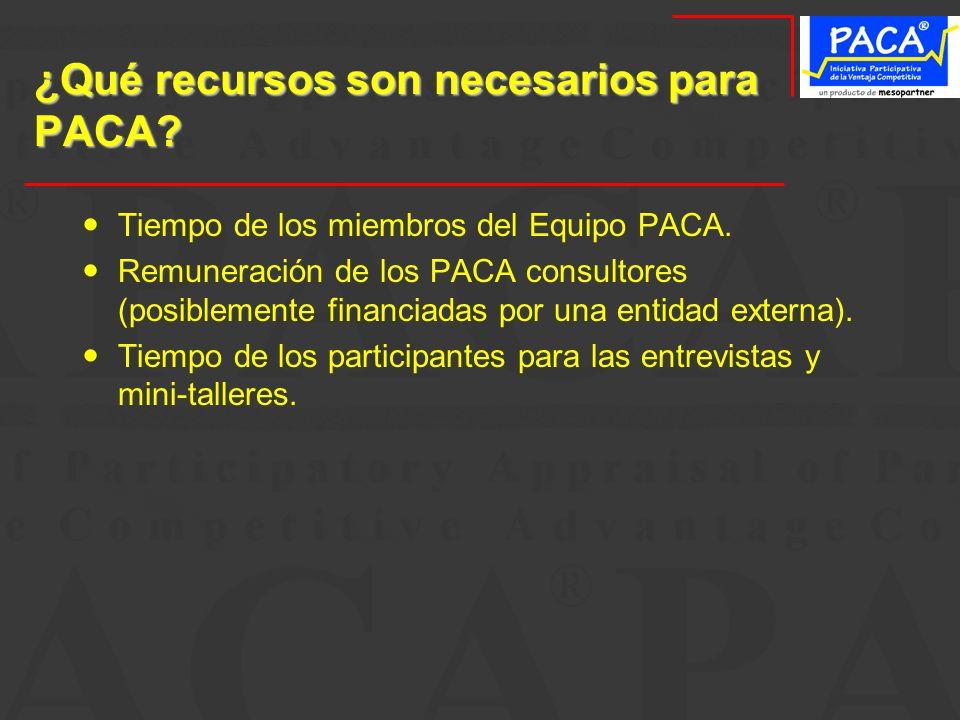 ¿Qué recursos son necesarios para PACA