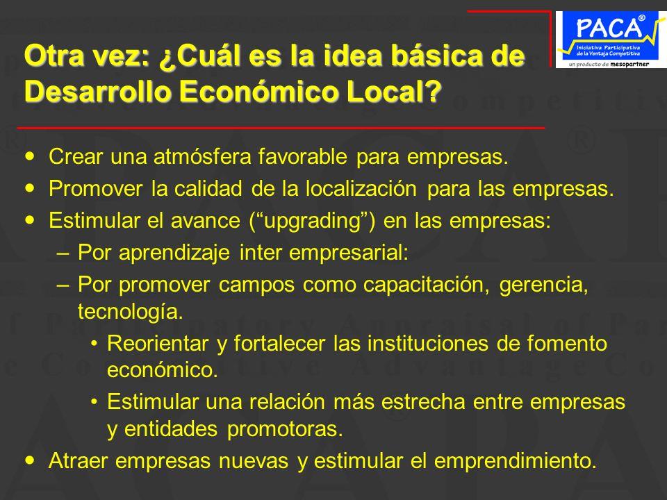 Otra vez: ¿Cuál es la idea básica de Desarrollo Económico Local