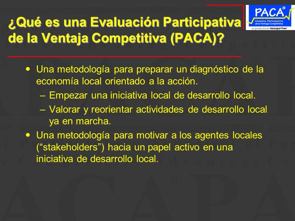 ¿Qué es una Evaluación Participativa de la Ventaja Competitiva (PACA)
