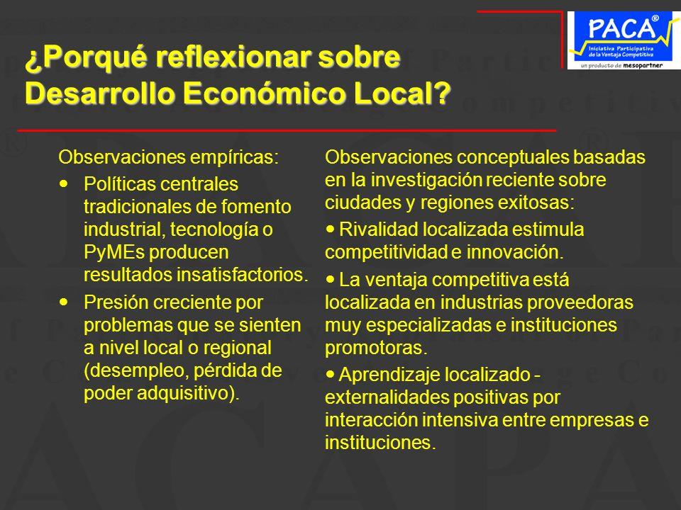 ¿Porqué reflexionar sobre Desarrollo Económico Local