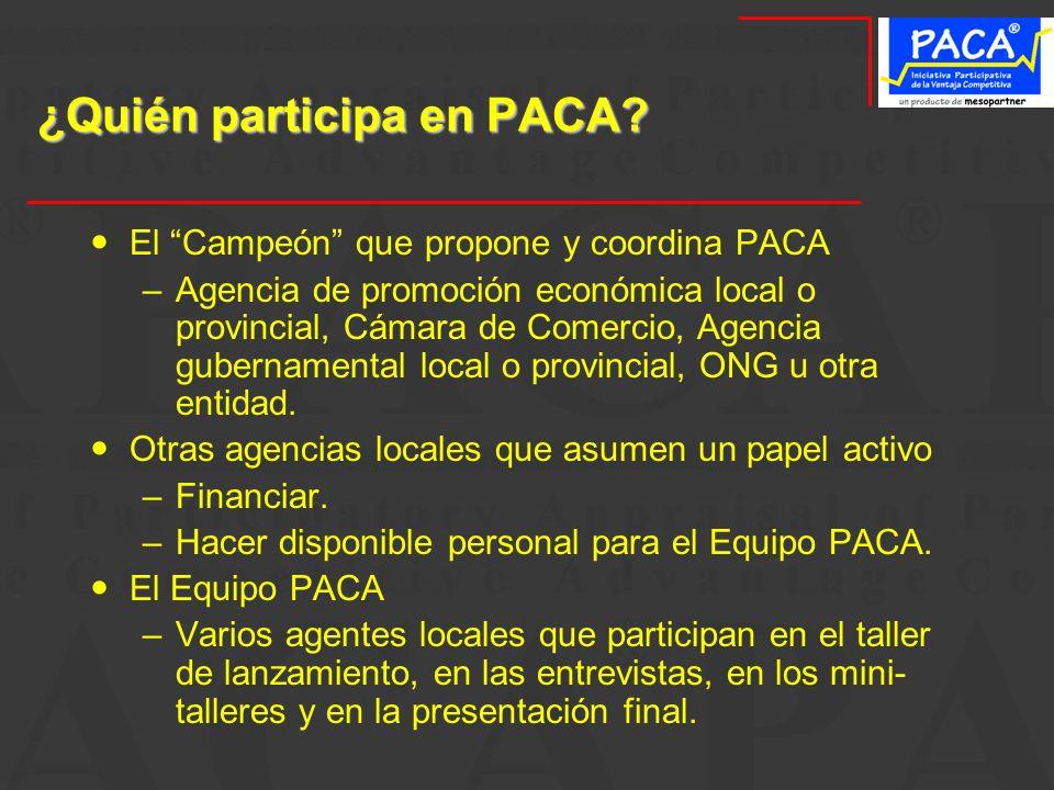 ¿Quién participa en PACA