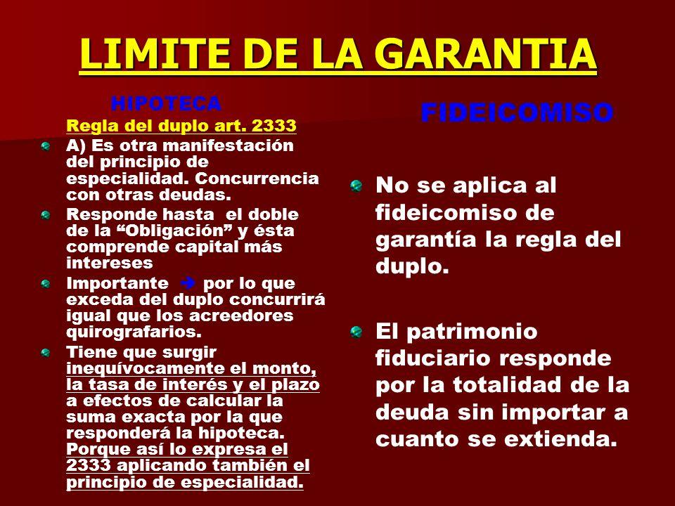 LIMITE DE LA GARANTIA HIPOTECA. Regla del duplo art. 2333. A) Es otra manifestación del principio de especialidad. Concurrencia con otras deudas.