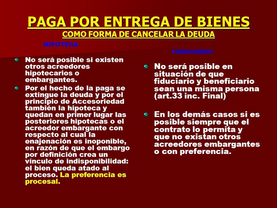 PAGA POR ENTREGA DE BIENES COMO FORMA DE CANCELAR LA DEUDA