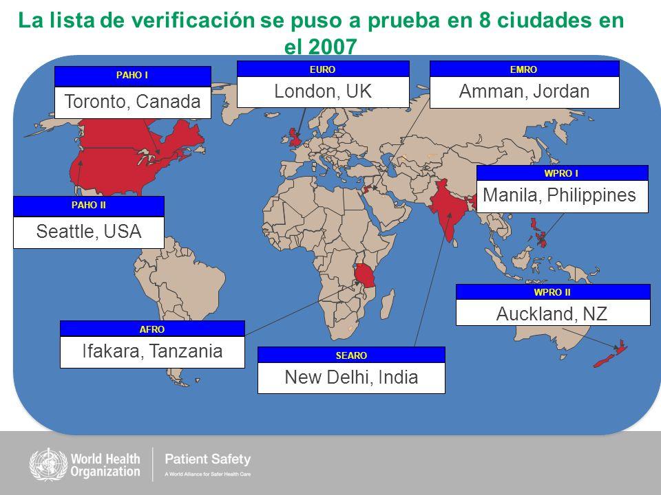La lista de verificación se puso a prueba en 8 ciudades en el 2007