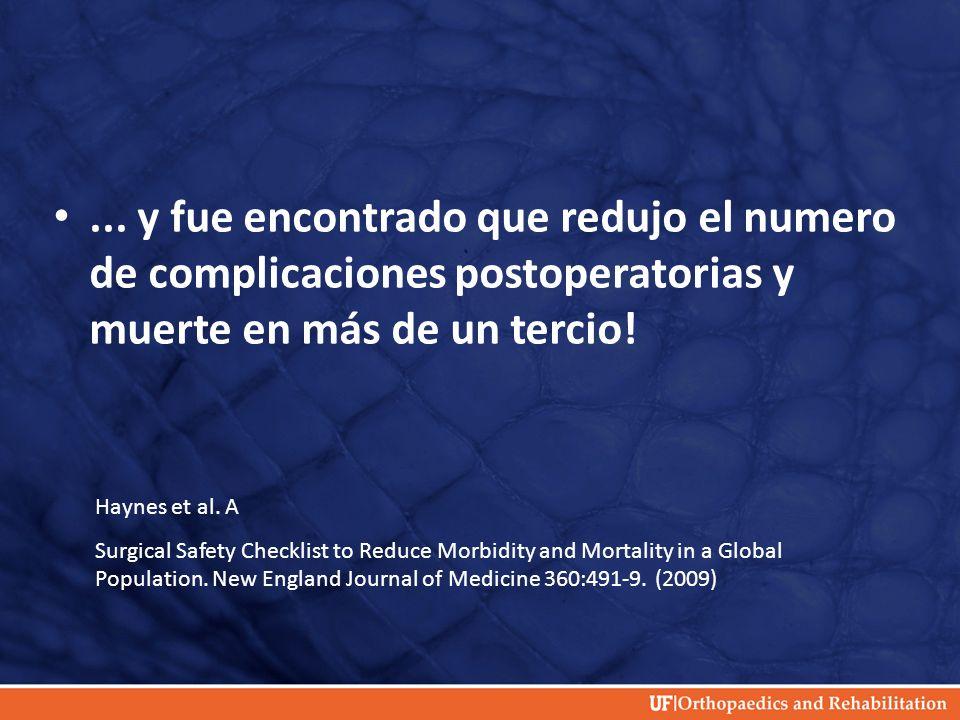 ... y fue encontrado que redujo el numero de complicaciones postoperatorias y muerte en más de un tercio!