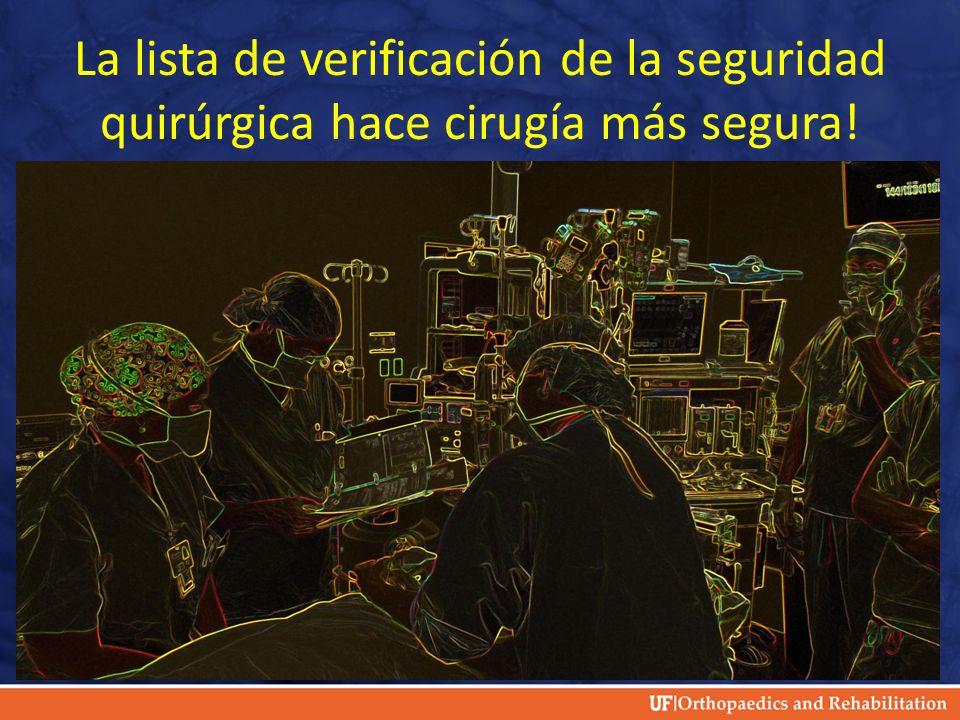 La lista de verificación de la seguridad quirúrgica hace cirugía más segura!