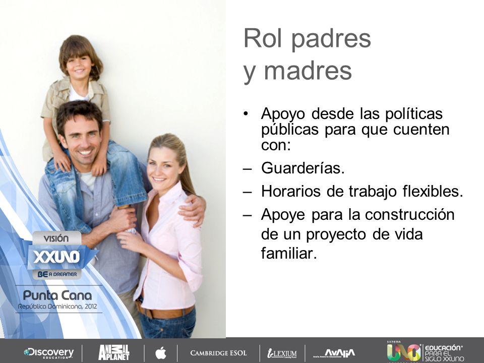 Rol padres y madres. Apoyo desde las políticas públicas para que cuenten con: Guarderías. Horarios de trabajo flexibles.