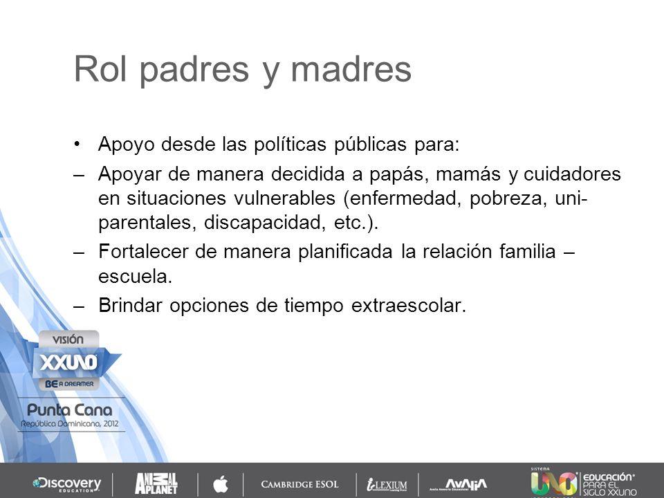 Rol padres y madres Apoyo desde las políticas públicas para: