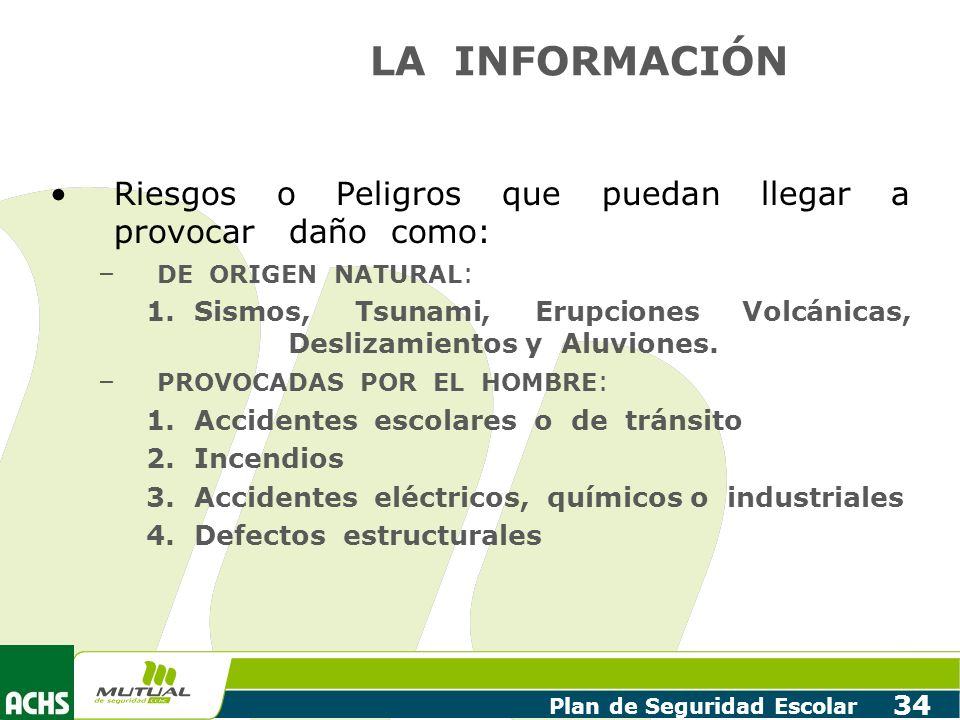 LA INFORMACIÓN Riesgos o Peligros que puedan llegar a provocar daño como: DE ORIGEN NATURAL: