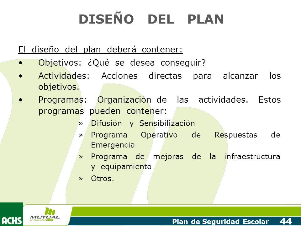 DISEÑO DEL PLAN El diseño del plan deberá contener: