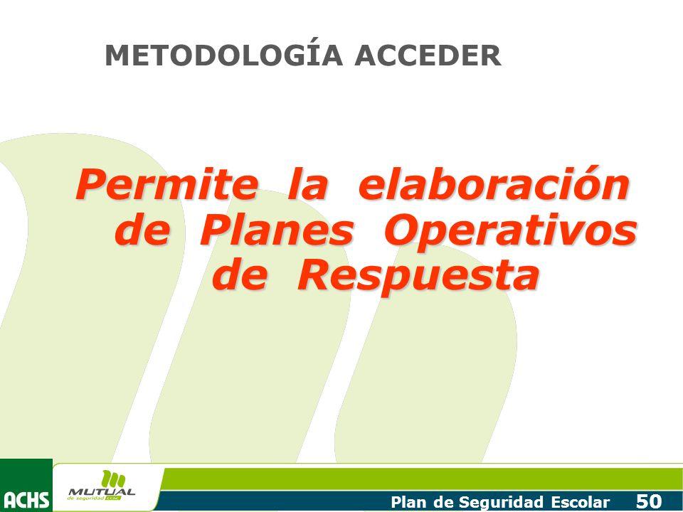 Permite la elaboración de Planes Operativos de Respuesta