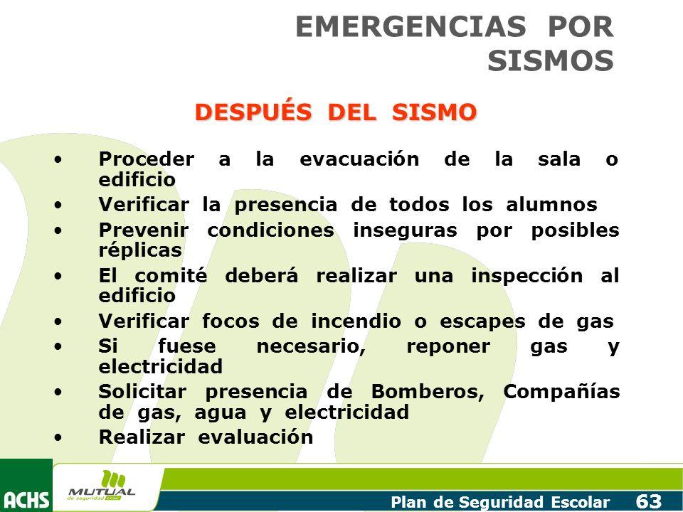 EMERGENCIAS POR SISMOS