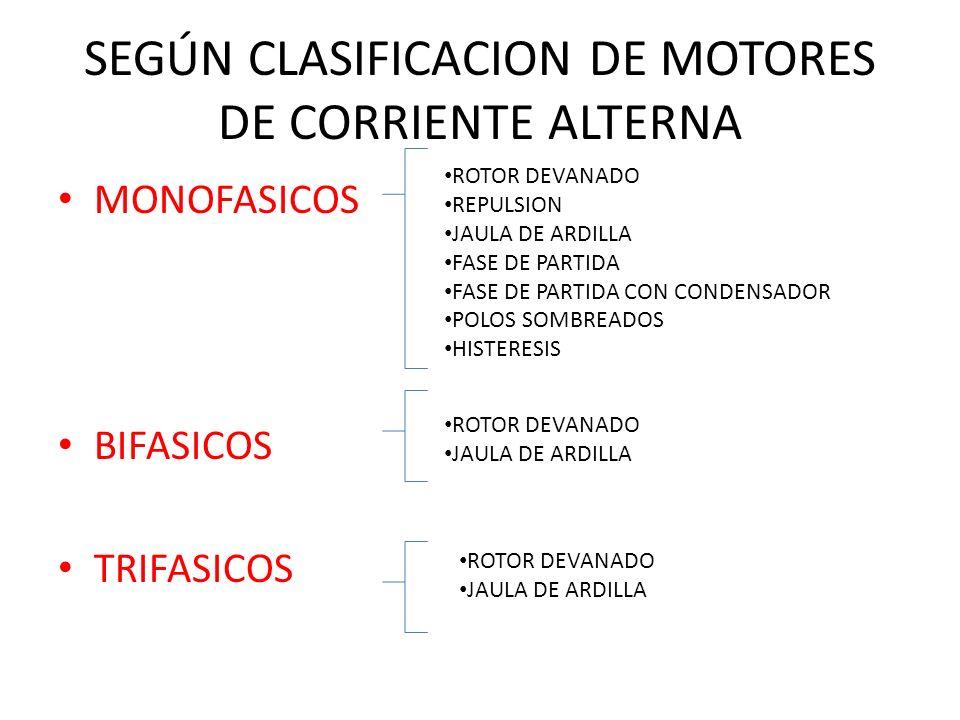 SEGÚN CLASIFICACION DE MOTORES DE CORRIENTE ALTERNA