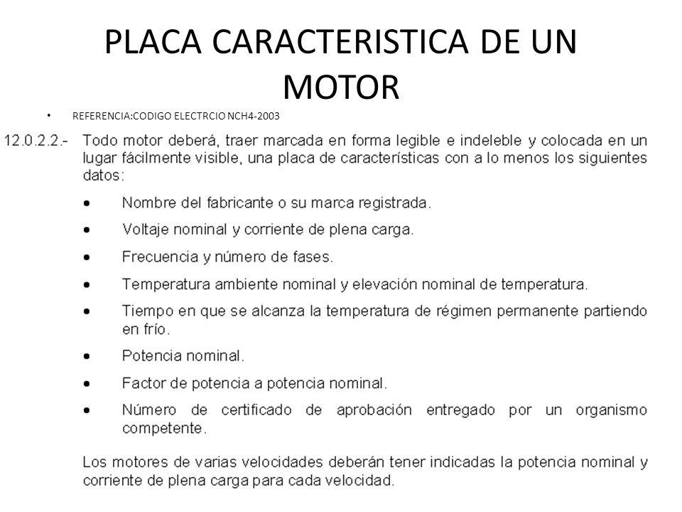 PLACA CARACTERISTICA DE UN MOTOR