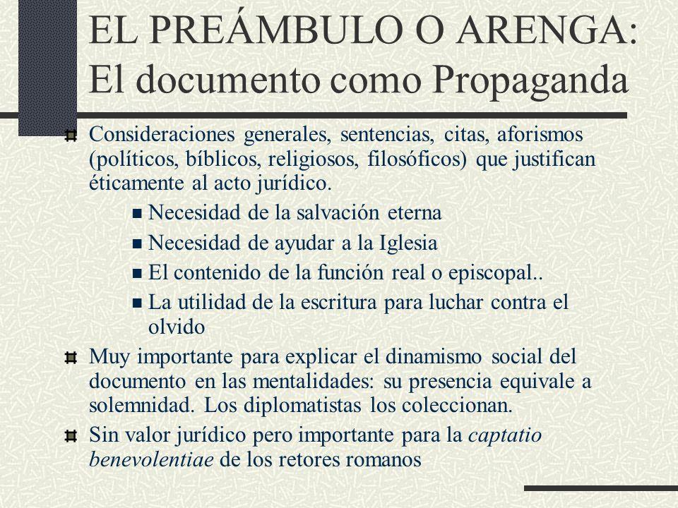 EL PREÁMBULO O ARENGA: El documento como Propaganda