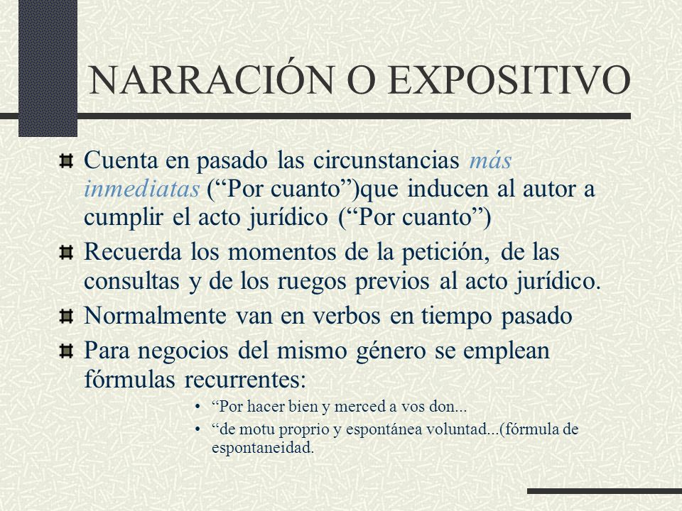 NARRACIÓN O EXPOSITIVO