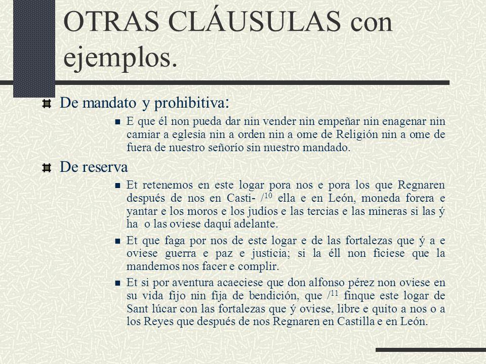 OTRAS CLÁUSULAS con ejemplos.