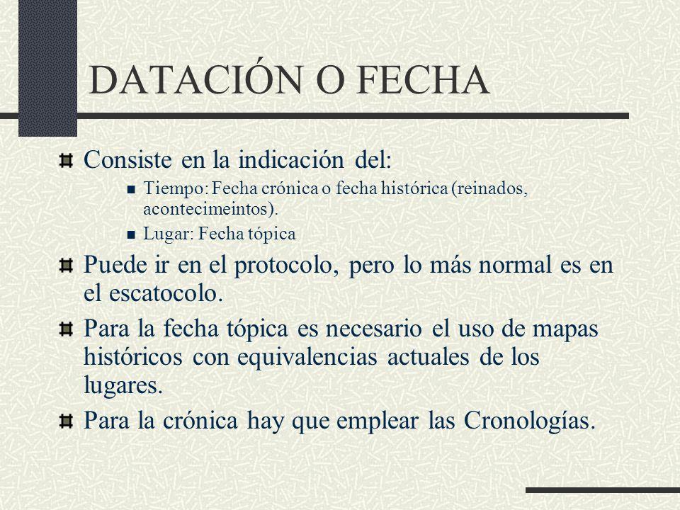 DATACIÓN O FECHA Consiste en la indicación del: