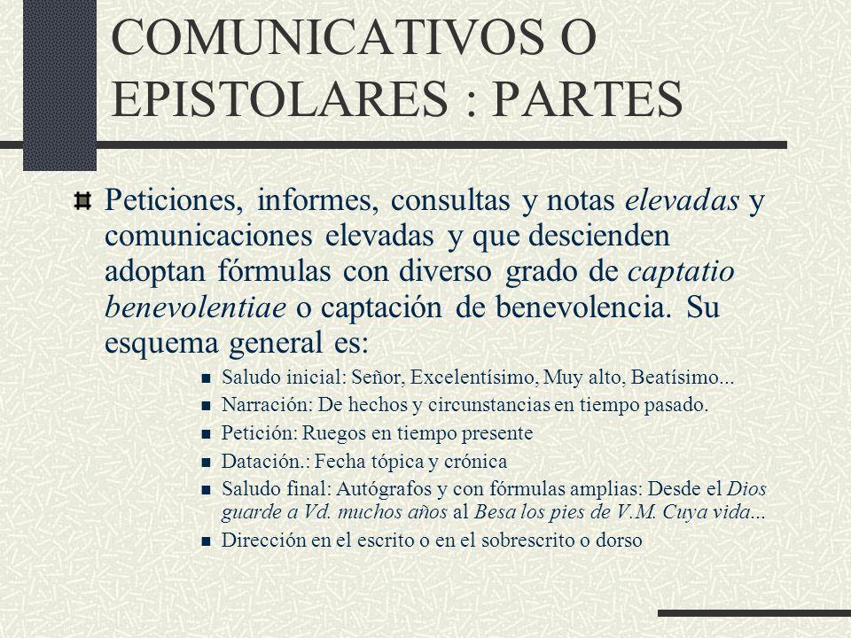 LOS DOCUMENTOS COMUNICATIVOS O EPISTOLARES : PARTES