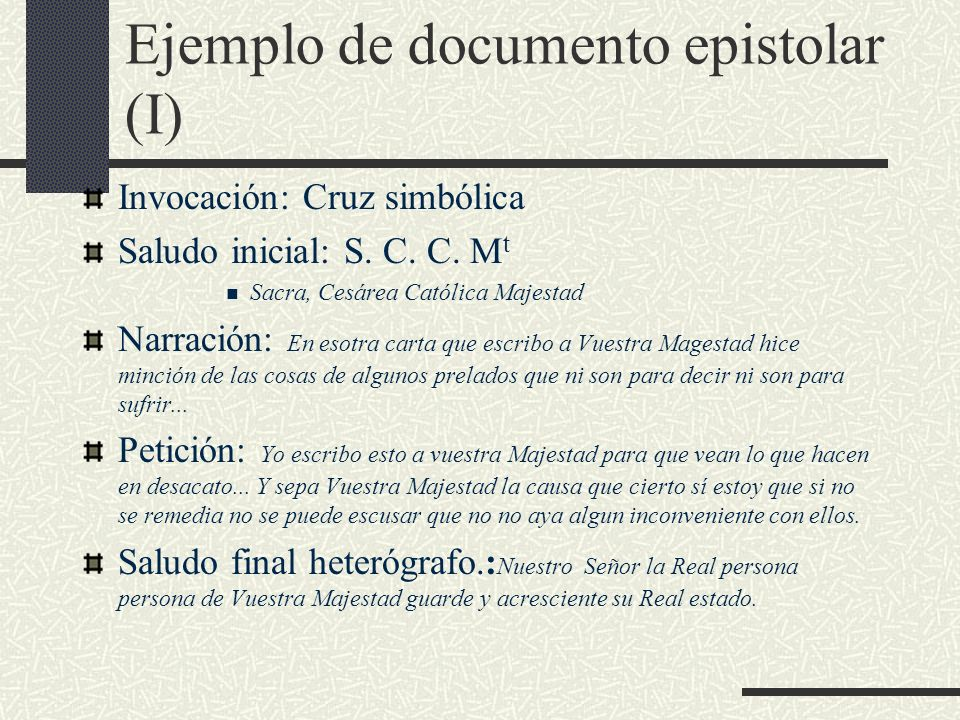 Ejemplo de documento epistolar (I)