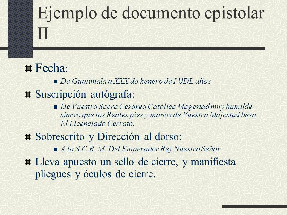 Ejemplo de documento epistolar II