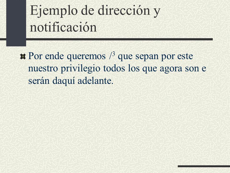 Ejemplo de dirección y notificación