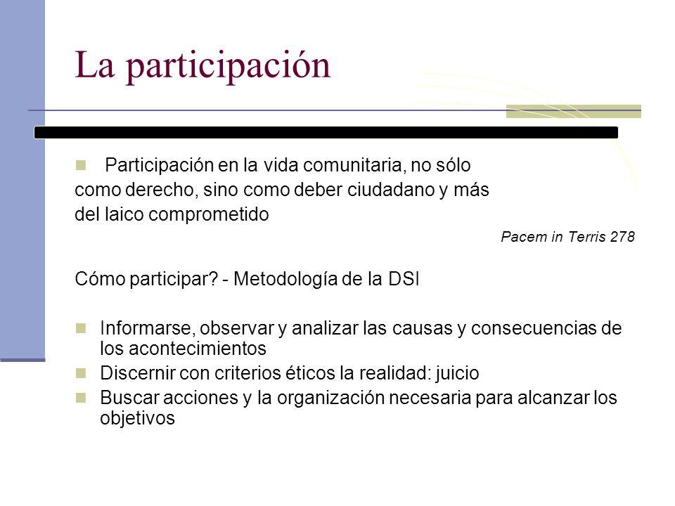 La participación Participación en la vida comunitaria, no sólo