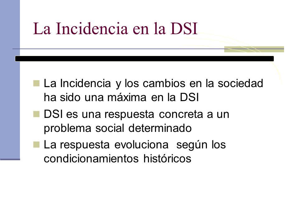 La Incidencia en la DSI La Incidencia y los cambios en la sociedad ha sido una máxima en la DSI.