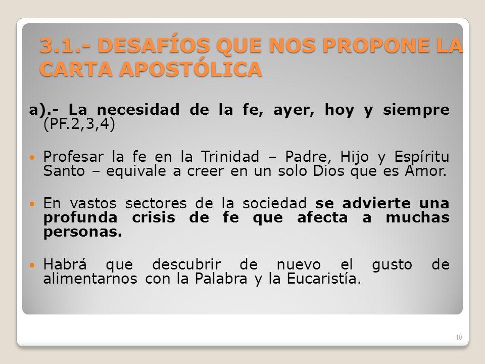 3.1.- DESAFÍOS QUE NOS PROPONE LA CARTA APOSTÓLICA