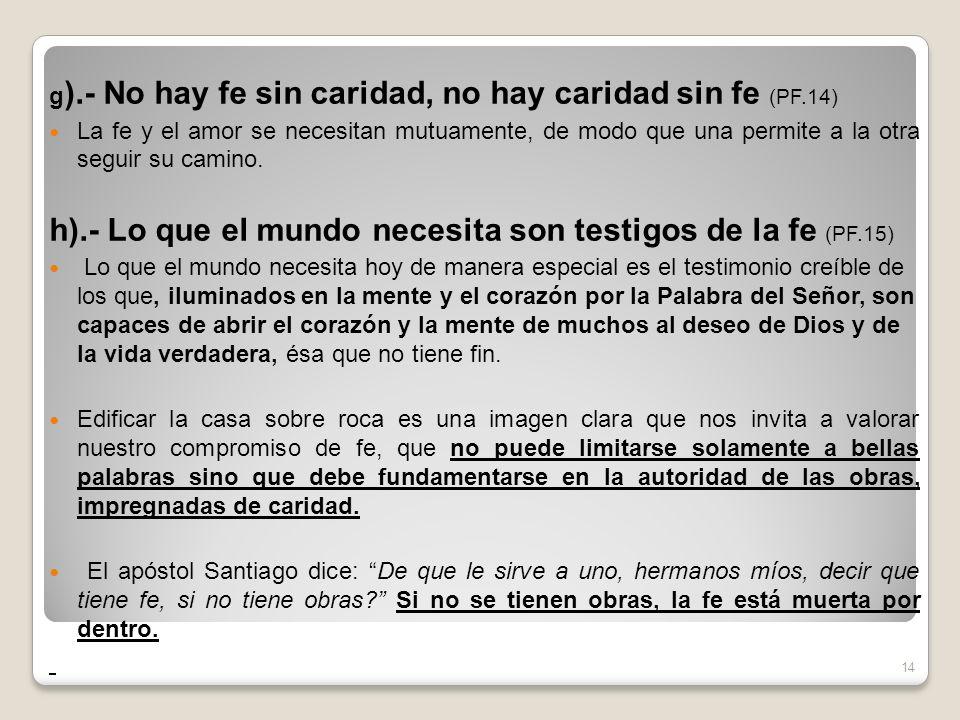 h).- Lo que el mundo necesita son testigos de la fe (PF.15)