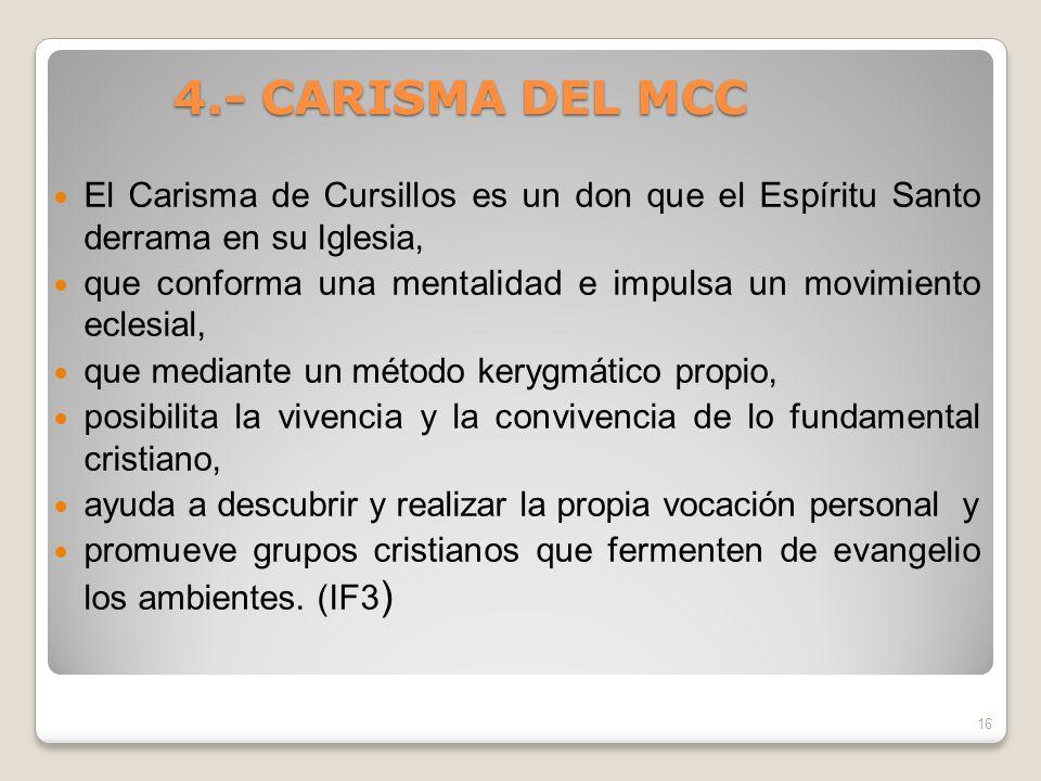 4.- CARISMA DEL MCC El Carisma de Cursillos es un don que el Espíritu Santo derrama en su Iglesia,