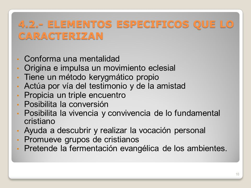 4.2.- ELEMENTOS ESPECIFICOS QUE LO CARACTERIZAN