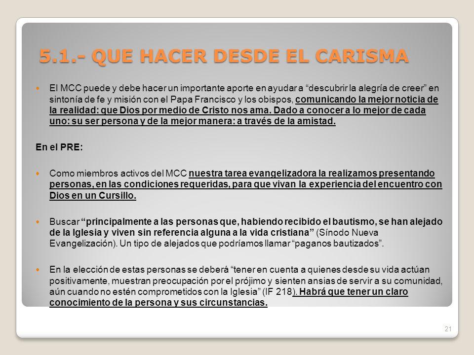 5.1.- QUE HACER DESDE EL CARISMA