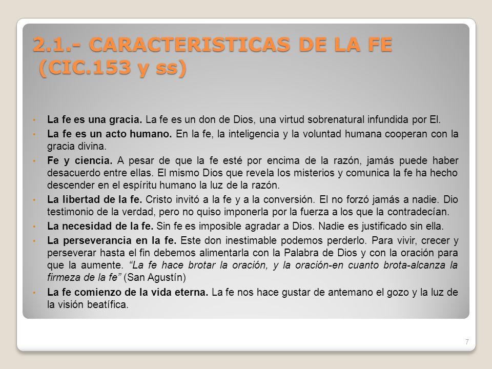 2.1.- CARACTERISTICAS DE LA FE (CIC.153 y ss)