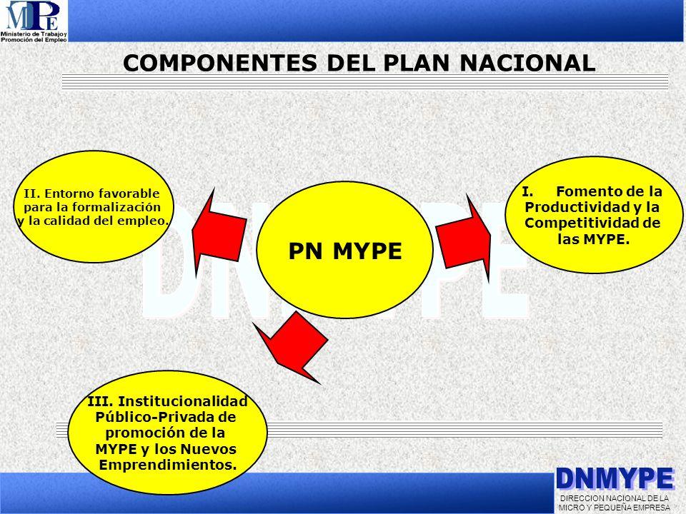 COMPONENTES DEL PLAN NACIONAL III. Institucionalidad